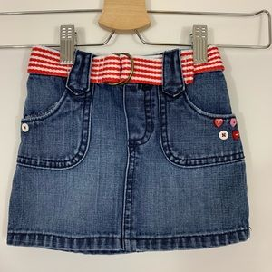 Old Navy Belted Jean Skirt with Embellishments